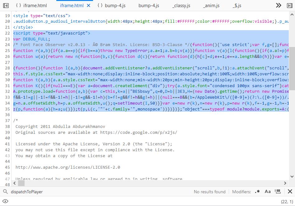 Found inline JS codes in iframe.html!