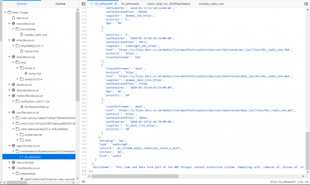 """Screenshot of a file called """"JS_callbacks0"""" where it includes a """"disclaimer"""" containing some sort of legal threat"""