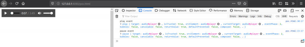Proof-of-concept where I handled MediaPlayPause keyboard key to play/pause the audio. In the browser console, it is seen that play/pause event is triggered