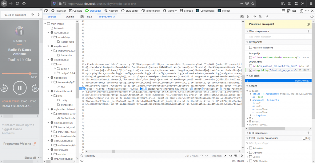 """Showing that you can insert """"column breakpoints"""" in Firefox, but you have to set a line breakpoint first"""