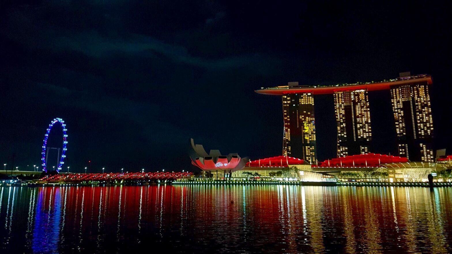 Marina Bay Sands area at night, 31 October 2020